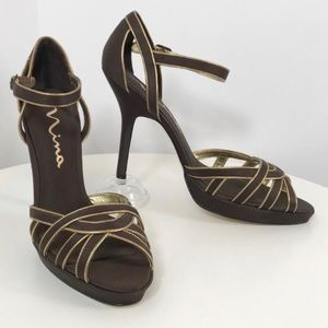 NINA brown satin and gold leather platform heel 10